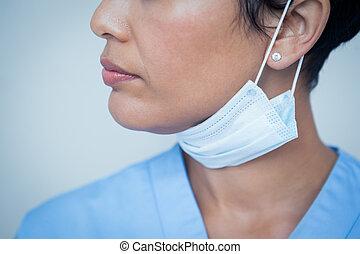 odontólogo, cirúrgico, femininas, máscara, desgastar