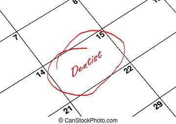 odontólogo, circundado, ligado, um, calendário, em, vermelho