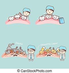 odontólogo, com, dente