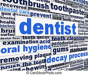 odontólogo, conceito, mensagem