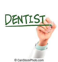 odontólogo, doutor, palavra, escrita