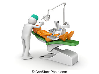 odontólogo, e, paciente, em, cadeira dental