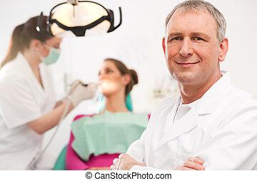 odontólogo, em, seu, cirurgia