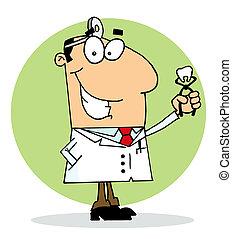 odontólogo, feliz, homem