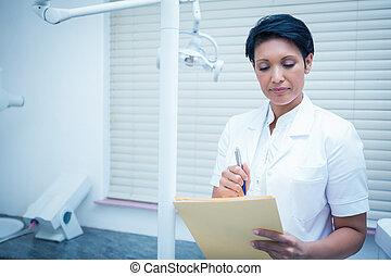 odontólogo, femininas, relatórios, leitura