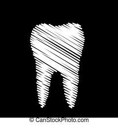 odontólogo, gráfico, dente