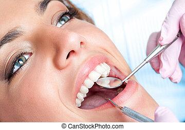odontólogo, meninas, trabalhando, dentes