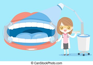 odontólogo, mulher, dente