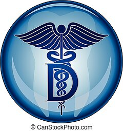 odontólogo, símbolo médico, botão