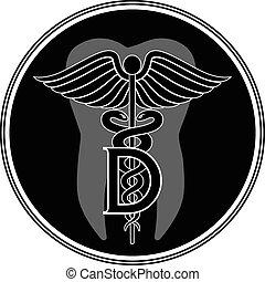 odontólogo, símbolo médico, gráfico, styl