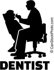 odontólogo, silueta, trabalho, título