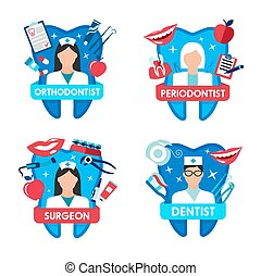 odontoiatria, dentista, dente, icona, dottore