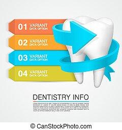odontología, vector, ilustración, info.