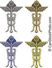 odontologia, símbolo, em, quatro, cores