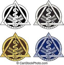 odontologia, símbolo, -, quatro, versions