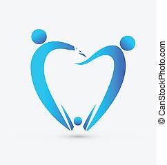 odontologia, vetorial, família, ícone
