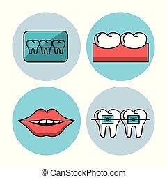 Odontology icons set icon vector illustration graphic design