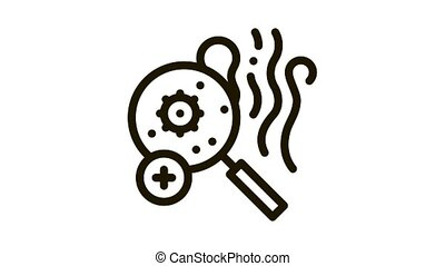 odor smell microbe research Icon Animation. black odor smell microbe research animated icon on white background