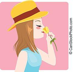 odorando, tulipano, donna, giallo, primavera