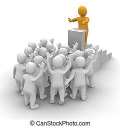 odpłacił, illustration., audience., lider, rozmawianie, 3d