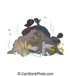 odpadki, dump., ekologia, tracić, concept., śmieci, problem, pollution., środowisko, śmieci, wektor