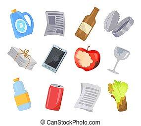 odpadki, ikony, kolor, afisz, zbiór, różny