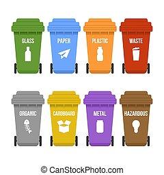 odpadki, oddzielny, zbiór, wielobarwny, przerabianie surowców wtórnych, koła, tracić, skrzynie