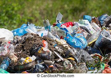 odpadki, outdoor., środowiskowy, stos, concept., skażenie