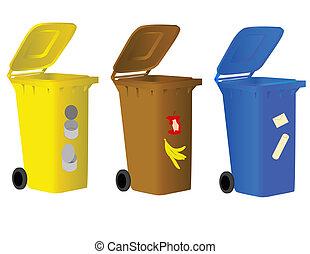 odpadki, skrzynie, tracić, sortowanie