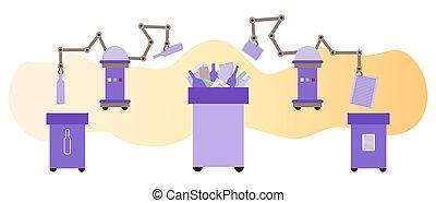 odpadki, sortowanie, eco, tracić, recycling, robot, wektor