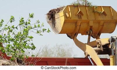 odpadki, zbudowanie, samochód załadowczy, stos, ładowacz, ...