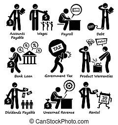 odpowiedzialność, pictogra, towarzystwo, handlowy