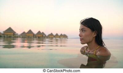 odprężając, lato, kobieta, hotel, urlop, spokój, piękno,...