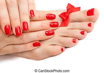 odprężając, pedicure, odizolowany, bow., manicure, czerwony