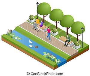 odprężając, relaxation., park, lake., isometric, zdrowy, ludzie, czynny, pieszy