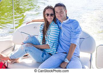 odprężając, słoneczny, para, jacht, młody, dzień, szczęśliwy