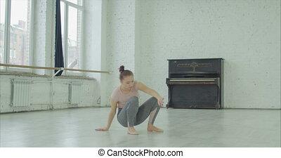 odprężając, zmęczony, po, powtórka, tancerz, samica