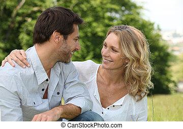 odprężony, para, kochający