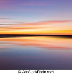 odraz, o, barvitý, západ slunce
