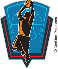 odskakiwanie, koszykówka, tarcza, gracz, piłka, retro