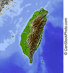 odstín, plastická mapa, taiwan
