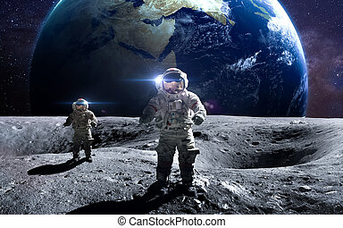 odważny, dostarczony, to, moon., spacewalk, nasa., elementy, astronauta, wizerunek