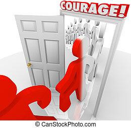 odważny, ludzie, maszerować, przez, odwaga, drzwi,...