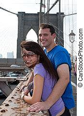 odwiedzając, para, brooklyn, york, nowy, szczęśliwy