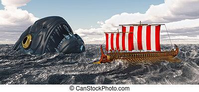 odysseus, charybdis, sien, compagnons