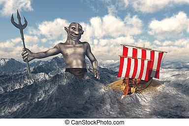 odysseus, poseidon, mer, orageux
