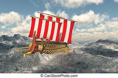 odysseus, sien, mer, compagnons, orageux