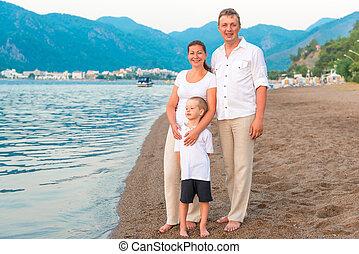 odzież, jasny, morze, urlop, rodzina