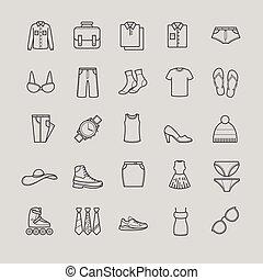 odzież, komplet, ikony