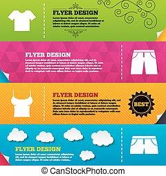 odzież, signs., t-shirt, i, kalesony, z, shorts.